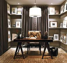 engaging design ideas of cute home office with dark brown wooden table and damask pattern fabric best home office layout