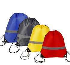 35*43cm <b>Reflective Strip</b> Safe Drawstring Bag 210d Polyester ...