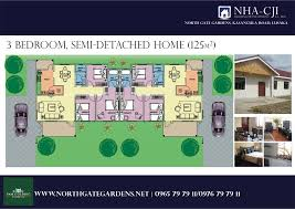 House Plans and Styles   North Gate Gardens  Lusaka    North Gate Gardens   bedroom semi detached colour view   sqm