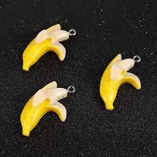 10Pcs <b>Fruit</b> Yellow Banana <b>Resin</b> Charm Pendant DIY Necklace ...