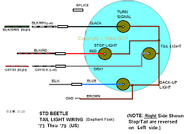 speedy jim s home page aircooled electrical hints tail light wiring 73 thru 79 beetle showing wire colors