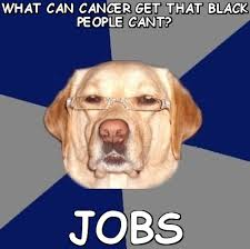 What can cancer get that black people cant? Jobs (Racist Dog ... via Relatably.com