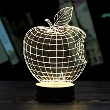 moza home decor 1piece 3d apple night lamp acrylic wood mood lamp bulbing light for bedroom cheap mood lighting
