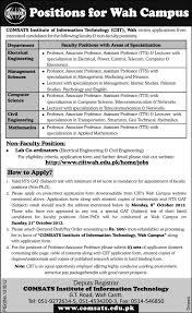 jobs in comsats institute of information technology – education    comsats institue of information technology