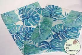 Watercolor palm <b>leaf</b> edible wafer paper- <b>3 sheets</b>   Wafer paper ...