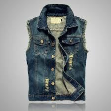 <b>2019 Yifsion</b> Ripped Jean Jacket Men'S Denim Vest Hip Hop Jean ...