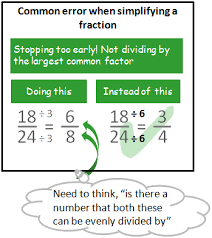 How to simplify fractionscommon error example showing fraction only partially simplified.