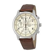 seiko chronograph beige dial brown leather men s watch sndc31