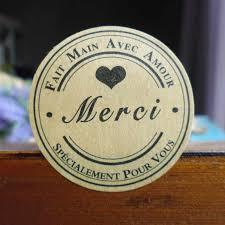 102PCS <b>Kraft Merci Sticker</b> Labels Food Seals, French Thank You ...