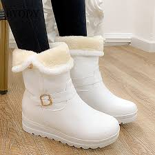 <b>BYQDY New 2020</b> Winter Boots Women Leather Snow Boots ...