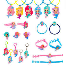 6 PCS Mermaid Rubber Necklace Bracelet Keychain Baby Shower ...