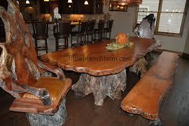 chair dining room tables rustic chairs: rustic dining tables live edge table with burlwood rustic chairs