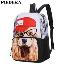 <b>PHEDERA New</b> Middle School Student Backpack Dog Printing ...