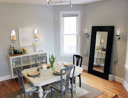 dining room wall decorating ideas: beige and grey walls dining room traditional with crystal