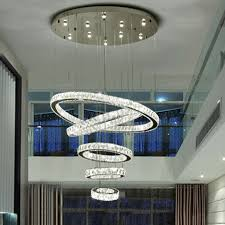<b>Modern LED Ring</b> Chandelier Round Crystal Pendant Ceiling ...