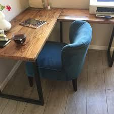 reclaimed wood corner desk shaped wood desks home