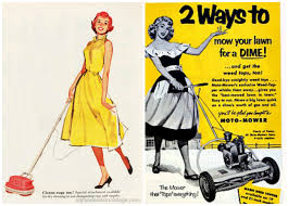suburbs lawn mower sexist retro photos and illustrations vintage illustrations family vintage illustration housewives housework lawn mower sexist ads