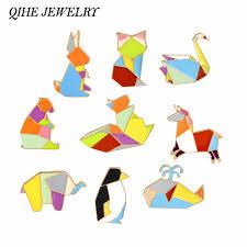 QIHE JEWELRY Origami <b>Animal Pins</b> & <b>Brooches</b> Elephant Rabbit ...