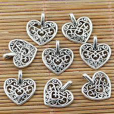 Crafts Charms & Pendants <b>16pcs</b> tibetan silver <b>color</b> 2sided heart ...