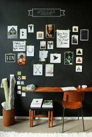 dont be afraid of the dark 12 black walls done right via brit beautiful home office chalkboard
