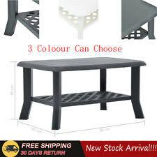 Garden <b>Coffee Table</b> Plastic Table W/ Storage Shelf 90x60x46cm ...