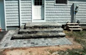 patio steps pea size x: wide steps from back door dont like these pavers but the scale backyard pinterest the ojays doors and back doors