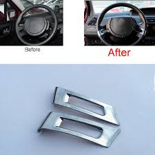 Tonlinker <b>2 Pcs</b> DIY <b>Car Styling ABS</b> Chrome Steering wheel bright ...