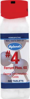 Hyland's Homeopathic #<b>4 Ferrum Phosphoricum 6X</b> Tablets, 500 ct