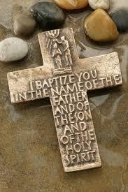 iron wall cross love: i baptize you bronze cross celebrate faith