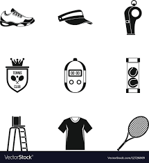 <b>Big</b> tennis icons set <b>simple style</b> Royalty Free Vector Image