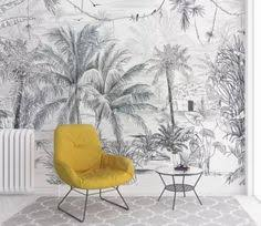Tropical Rainforest Wallpaper, Vintage Grey Huge <b>Trees</b> with Water ...