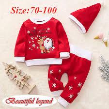 <b>Christmas</b> Toddler Baby Boys Girls <b>Santa</b> Claus Fawn <b>Print</b> Long ...