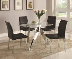 black and white dining table set: round glass top dining table with mirrored acrylic base tmlf