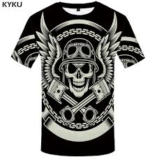 <b>KYKU Skull T Shirt</b> Men Black Military Tshirt Feather 3d Print T shirt ...
