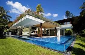 impressive above the ground outdoor pool design with unique glass materials pool deck and natural