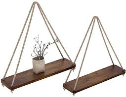 Rustic <b>Set of 2 Wooden</b> Floating Shelves with String – Farmhouse ...