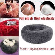Long Plush Super Soft <b>Dog</b> Bed <b>Pet</b> Kennel Round Sleeping Bag ...