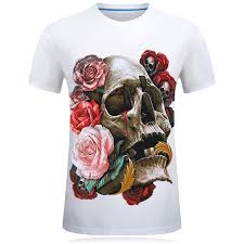<b>E BAIHUI New</b> 2019 <b>T Shirt</b> Skull 3d Print Red Rose Men/Women T ...