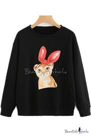 Hot <b>Fashion Women's Cute</b> Cartoon <b>Rabbit</b> Printed Round Neck ...