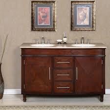 55 inch double sink bathroom vanity: silkroad exclusive travertine top  inch double sink vanity cabinet