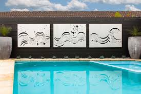 designs outdoor wall art: outdoor wall art laser cut outdoor wall art fish wave feature panels in a marine grade stainless steel finish for landscaper use by the pool