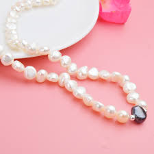 <b>ASHIQI Real</b> White Freshwater Pearl Necklace for Women with Pure ...