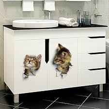 3D <b>Cats</b> Wall <b>Sticker Toilet Stickers</b> Hole View Vivid Vinilo <b>Bathroom</b> ...