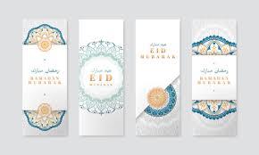 Free Vector | White <b>eid mubarak</b> banner set