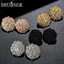 SHUANGR Punk Gold Sliver Black Round Oval <b>Metal</b> Stud <b>Earrings</b> ...