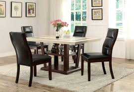 Marble Top Kitchen Table Set Coaster 105841 Lacombe Cappuccino 7 Pcs Marble Top Dining Table Set