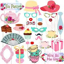 LUOEM Tea Party Stick Props <b>Tea Party Photo Booth</b> Props Kit Party ...