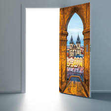 Set Creative DIY Door Sticker <b>Prague</b> Square Church Art Mural <b>Self</b> ...