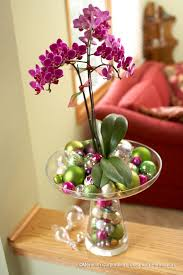 day orchid decor: purple orchid and glass beads for christmas decoration