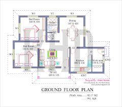Low Cost House in Kerala   Plan  amp  Photos   sq ft   KHPFloor Plan